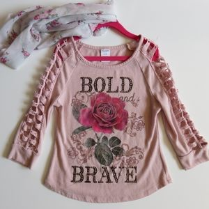 Arizona Jean Pink Long Sleeve with Rose S(7-8)